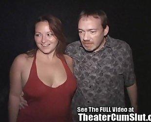 Milf makes each dude in porn theater cum