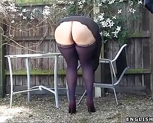Stockings upskirt no pants hot arse uk milf