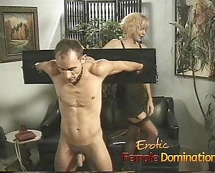 Busty milfs play with a slender loser in the dungeon-6