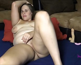 Chubby brunette hair fingering, using sextoy and sex toy to cum hard