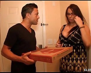 Busty milf jerking off the pizza guy